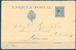 1894 , E.P. 28 , TARJETA DE VUELTA , CIRCULADO A CARDEDEU - 1850-1931