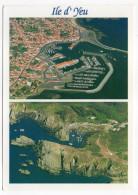 ILE D'YEU--Souvenir De L'ile D'Yeu--Deux Vues Aériennes ,cpm éd Combier - Ile D'Yeu