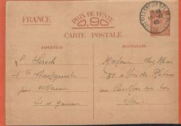 Entiers Postaux   Carte Postale  Timbres IRIS 1940   Daguin  Villeneuve S/ LOT  -mars 2016 539 - Entiers Postaux