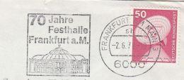 1978 GERMANY Stamps COVER SLOGAN Pmk Illus FRANKFURT FESTHALL 70th ANNIV  Arena Music Sport Theatre - Music