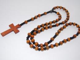 Rosary Necklace , Wood Cross, Wood Beaded ,Prayer Beads, Jesus, Catholic, Crucifix, Protection,Spiritual Jewelry,Gift - Collane/Catenine