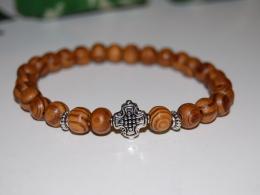 Silver Cross Wood Bracelet,Elastic,Spirituality Bracelet,Mala,Pray,Yoga,Man,Woman,Boho,Folk,Meditation,Man,Woman - Bracelets