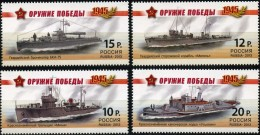 Russia, 2013, Mi. 1927-30, Sc. 7443-46, Weapons Of The Victory, Warships, WW II, MNH - Unused Stamps