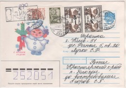 RUSSIE 1994   - TIMBRES SURCHARGES TETE BECHE  DIKSON 1993 AVION, OURS BLANCS - CACHET D ARRIVEE AU VERSO - 1992-.... Federación