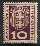 Timbres - Allemagne - Etranger - Dantzig - Service - 1921-1923 - 10 P. -