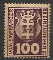 Timbres - Allemagne - Etranger - Dantzig - Service - 1921-1923 - 100 P. -