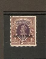 INDIA - PATIALA 1937 - 1938 2R SG 93  UNMOUNTED MINT Cat £35 - Patiala
