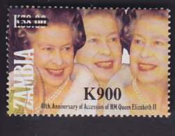 Zambie. Noces D'or De La Reine Elisabeth Ll Surchargé 667 - Zambie (1965-...)