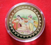 "Vergoldete 999er Medaille Kamasutra "" Die Lotusstellung "" Mit Zertifikat Plaquée Or 24 Carats Karat - Germania"