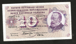 [CC] SVIZZERA / SUISSE / SWITZERLAND - NATIONAL BANK - 10 FRANCS / FRANKEN (1965) G. KELLER - Svizzera
