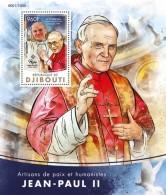 DJIBOUTI 2016 - Pope John Paul II, Dalai Lama S/S. Official Issue - Buddhism