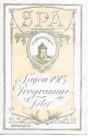 SPA  ( Belgique )  -  Programme Des Fêtes  - Saison 1913  ( Format : 14 Cm X 21 Cm  ) 4 Pages - Belgium