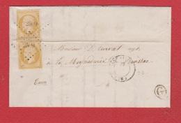 Lettre De Vérines   -- Pour Brassac  --   28 Mai 1857  --  Boite Rurale G --  Paire De N 13 - 1849-1876: Période Classique