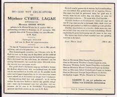 DP Cyriel LAGAE - Wylin - Sint-Eloois-Winkel - Roeselare - 1882 / 1961 - Obituary Notices