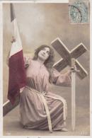 Militaria -- Foi -- Espérance -- Jeune Fille Avec épée,croix ,drapeau - Patriotiques