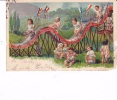 Cpa 1908 Nombreux Enfants Jouant Toboggan Sur Pot De Chambre Montagne Russe Fesse Nue Curiosité - Cartes Humoristiques