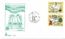 SAN MARINO - FDC  - CAPITOLIUM - ANNO 1992 - CELEBRAZIONI COLOMBIANE - SCOPERTA DELL'AMERICA - CRISTOFORO COLOMBO - 1492 - FDC