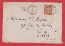 Suisse --   Face Avant De Genève  Pour Paris -- 30 Franco --  5 Janv 1867 - Briefe U. Dokumente