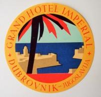 Etiquette Bagage Grand Hôtel Imperial Dubrovnik Jugoslavija. - Années 50. - Hotel Labels