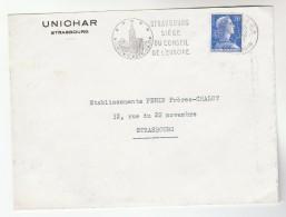 1957 FRANCE COVER COAL Mining UNICHAR Union Charbonnier SLOGAN Illus STRASBOURG COUNCIL OF EUROPE Minerals Energy Stamps - Sciences