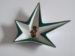 Cendrier Vide Poche Etoile Vert Manneken Pis NOVEX Porcelaine 1958 - Cendriers
