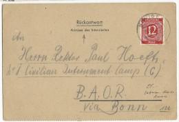 POSTES DES INTERNES CIVILS ALLEMANDS - 1947 - CARTE REPONSE De NEVIGES Pour Le CAMP N°1 BAOR Via BONN - Deutschland