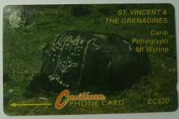ST VINCENT & THE GRENADINES - GPT - 8CSVC - $20 - Carib Petroglyph - STV-8C - Used - St. Vincent & The Grenadines