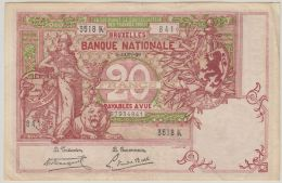 B00412  20 Francs TYPE 1894 - 6 -Jan-20 - TTB/TB - [ 2] 1831-... : Royaume De Belgique