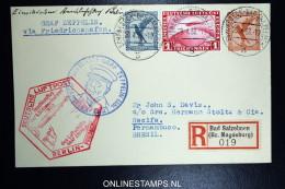 Graf Zeppelin: 1. Sudamerikafahrt 1933 Sieger 202 Ba Anschlussflug Berlin Registered  Cover To Recife Bresil - Luftpost