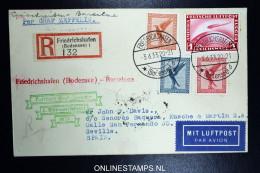 Graf Zeppelin: 2. Sudamerikafahrt 1933 Sieger 214 C   Registered  Cover To  Barcelona - Luftpost