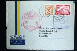 Graf Zeppelin: 3 Sudamerikafahrt 1933 Sieger 219 B Anschlussflug Berlin  To  Pernambuco Brasil - Luftpost