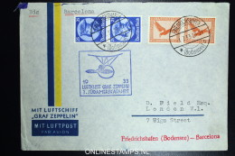 Graf Zeppelin: 3 Sudamerikafahrt 1933 Sieger 219 Ca    To  Barcelona - Luchtpost