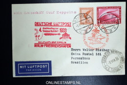 Graf Zeppelin: 4 Sudamerikafahrt 1933 Sieger 223 B  Anschlussflug Ab Berlin To Pernambuco Brasil - Luftpost
