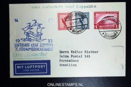Graf Zeppelin: 7. Sudamerikafahrt 1933 Sieger 232 Aa To Pernambuco Brasil - Luftpost