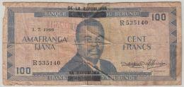 B00419  BURUNDI 100 Francs Type 1966  - B/TB - Pick  17 - Burundi