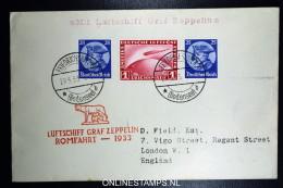 Graf Zeppelin: Italienfahrt RomFahrt  1933 Sieger 207 Aa  Stempel Roma - Luftpost