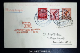 Graf Zeppelin: Italienfahrt RomFahrt  1933 Sieger 207 Db  Stempel Napoli Bordpost - Luftpost