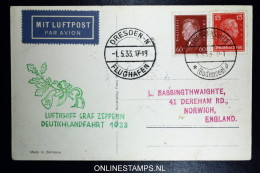 Graf Zeppelin:  Deutschlandfahrt  1933 Sieger 201 Aa Abwurf Dresden - Luftpost