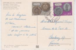 SAN MARINO 20 Lire + 5 Lire MONAIES LOCALES Sur CARTE POSTALE SECONDA ET TERZA TORRE - Lettres & Documents