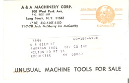 A & A Machinery Corp.  Long Beach, New York Unusual Machine Tools For Sale - Advertising