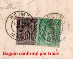 TB DATE, 16 NOV 1884, DAGUIN REIMS MARNE Sur Lettre Au Type SAGE. - Postmark Collection (Covers)
