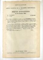 - PRODUIT DESTNE A REMPLACER LE CRIN DANS LA SELLERIE ..... BREVET D´INVENTION DE 1902 . - Transportation