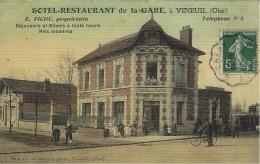 HÔTEL-RESTAURANT De La GARE, VINEUIL ( Oise )colorisée Ed. Ch. De Rozycki - France