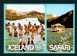 ICELAND  -  Dual View  Landmannalaugar And Krossa River  Unused Postcard - Iceland