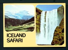 ICELAND  -  Dual View  Thorsmork And Skogafoss Waterfall  Unused Postcard - Iceland