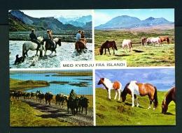 ICELAND  -  Icelandic Ponies  Dual View  Unused Postcard - Iceland