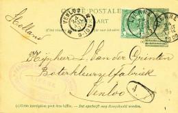 391/24 - Entier Postal Armoiries + TP Idem LIERRE 1900 Vers VENLOO NL- Cachet Fabrique De Beurre Raymakers, Hustinx § Co - Entiers Postaux