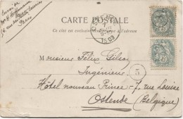 TP Blanc S/CP De Versailles Annulé Par Le Cachet De Facteur N°5 D'Ostende En 1903 C.Ostende 7/7/1903 PR3059 - Postmark Collection