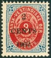 Deens West Indië 1887-05 Opdruk 2 CENTS Op 10 Cents Rood PF-MNH - Denmark (West Indies)