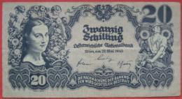 20 Schilling 1945 (WPM116) Serie Dünn: 1783 Kn 90141 - Austria